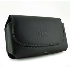Black Leather Side Case Cover Pouch Belt Clip with Loops for Verizon Cell Phones