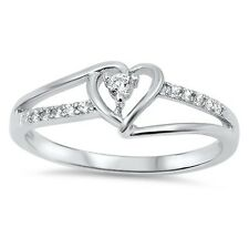 Sterling Silver Infinity Heart Shaped Clear CZ Promise Ring Size 4 5 6 7 8 9 10