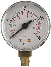 Bottom Entry Air Pressure Gauges 50mm Diameter 1/8 to 3/8 BSP, ABS and Brass