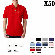CUSTOM PERSONALIZED EMBROIDERED Red Cotton Women Polo Shirt Top Set of 50