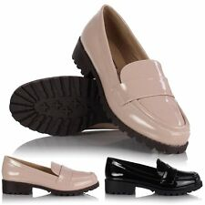 Ladies Womens Retro Chunky Flat Low Block Heel Plain No Buckle Loafer Geek Shoes