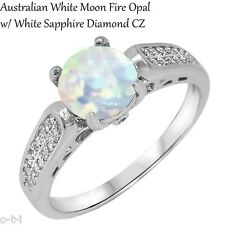 Magnificent Round White Moon Opal CZ Engagement / Wedding Sterling Silver Ring
