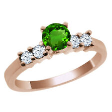 0.82 Ct Round Green Chrome Diopside White Topaz 14K Rose Gold Engagement Ring