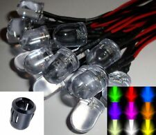 10mm Pre-wired Constant/Flashing 12v LEDs Black Plastic Holders All Colours