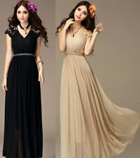 Ladies Long Chiffon Lace Cocktail Evening Party Bridesmaid Maxi Vintage Dress