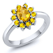 1.10 Ct Oval Yellow Citrine Yellow Sapphire 925 Sterling Silver Ring