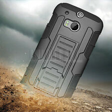 Shockproof Armor Impact Holster Hard Rugged Hybrid Case Cover For HTC ONE 2 M8