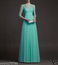 Turquoise Tulle Long Elegant Lace Evening Dress With Sleeves Prom Formal Gown