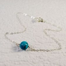 Sterling Silver Anklet Ankle Bracelet Turquoise Bead and Freshwater Pearl Charm