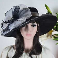 Large Kentucky Derby Hat Feather Church Dress Hat Wedding Party Hat #S2J