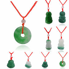 Oriental Green Religion Buddha Ethnic Red Cord Jade Lucky Necklace Pendant Z296