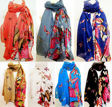 Butterfly Print New in Trend Large Maxi Scarf Stole Shawl Wrap Scarves