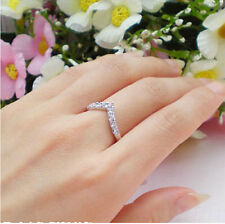 "Size 5-8 Jewelry Soild 925 sterling silver white Topaz Gem Wedding ""v"" Ring gift"
