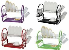 CHROME PLATED 2 TIER CUTLERY AND DISH DRAINER PLATES RACK CUP STAND KITCHEN HOME