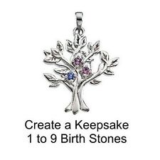 My Tree Pendant in Sterling Silver or Gold with Birthstones - Great Gift for Mom