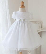 Baby Flower Girls Lace White Dress Baptism Christening Easter Holy Communion 1St