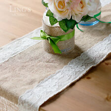 "12""x108"" Jute Burlap Table Runner with White Lace Trim Wedding Party Decoration"