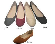 WOMENS FASHION BALLERINA FLAT SUEDE SHOES  6 7 8 9 10 11 ASSORTED COLORS