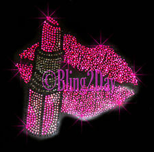 Lip Stick - Hot Pink LIPS - Iron On Rhinestone Transfer Hot Fix Bling Stylist