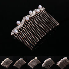 Stunning Bridal Wedding Crystal Pearl Rhinestone Diamante Hair Comb Clip Slide