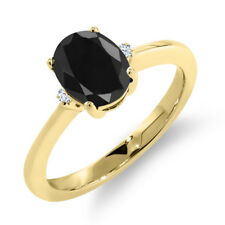 1.69 Ct Oval Natural Black Sapphire 14K Yellow Gold Ring