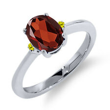 1.43 Ct Oval Red Garnet Canary Diamond 925 Sterling Silver Ring