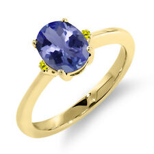 1.19 Ct Oval Blue Tanzanite Canary Diamond 14K Yellow Gold Ring