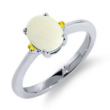 1.11 Ct Oval Cabochon White Simulated Opal Yellow Sapphire 14K White Gold Ring