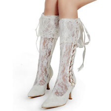 MB-08 Pointy Toe Low Heel Knee-high Ribbon Bridal Boots Lace Wedding Dress Shoes