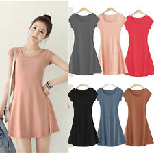 New Women Mini Dress Girl Short Sleeve Candy Color Lady One-piece Slim Dress