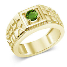 0.50 Ct Green SI1/SI2 Chrome Diopside 925 Yellow Gold Plated Silver Men's Ring