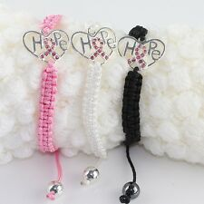 HOT Pink Crystal Ribbon Heart Breast Cancer Awareness Hope Connector Bracelet