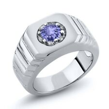 0.46 Ct Round Natural Blue Tanzanite 925 Sterling Silver Men's Solitaire Ring