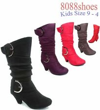 Youth Girl's Cute Faux Suede Low Heel Caual Zipper Buckle Boot Shoes Size 9 - 11