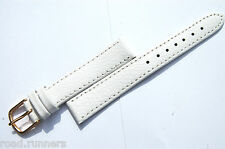 White Genuine Real Calf Leather Watch Strap Band Size 12mm-18mm Ladies BN