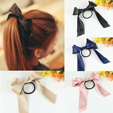 Women Pretty Ribbon Bow Hair Tie Rope Hair Band Scrunchie Ponytail Holder New