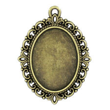 wholesale lots Cameo Frame Setting Pendants Oval Bronze Tone 4cmx3cm