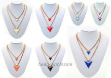 New arrival Lady's Gold Plated Chain Triangle Double-Deck Necklace