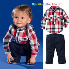 Baby Boy Plaid T shirt + Solid Pants 2Pcs Clothes Outfits sets Suit For 1-5Year