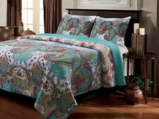 Reversible Cotton Quilt Coverlet Full/Queen King Paisley Turquoise Green Red 3Pc