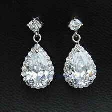 18k White Gold GP Water-Drop Stud Earring Use Swarovski CZ Crystal 1 inch
