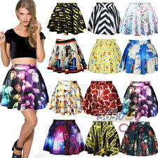 Womens High Waist Black Printed Colourful Cartoon Cute Punk Street Skater Skirt
