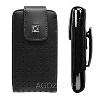 Premium Vertical Leather Holster Case Cover w/ Fixed Swivel Clip for Cell Phones