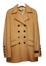 Woman coat ATOS LOMBARDINI Made in Italy double breasted JACKET Wool Beige NEW