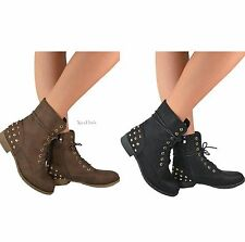 Womens Military Combat Boots Studded Mid Calf Lace up Shoes Black or Brown New