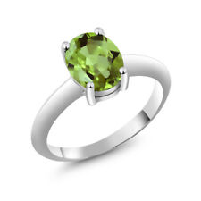 1.35 Ct Oval Green Peridot 925 Sterling Silver Ring 9x7 mm
