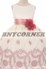Ivory Rose Floral Embroidered Flower Girl Dress Girls Pageant Easter Graduation