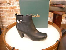 Clarks Black Leather Sapphire Lina Buckle Ankle Boots New