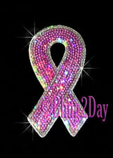 Breast Cancer Ribbon - Sequins Patch - Iron on Rhinestone Transfer Hot Fix Bling