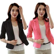 Sexy Women's Blazer 3/4 Sleeve One Button Small Short OL Suit Jacket Coat S-XXL